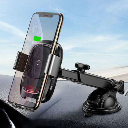 Baseus Fast Wireless Charger Suction Car Mount + Auto Clamp IR Sensor